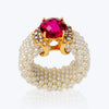 Puang Ma Lai Ring with Rubellite, Pearl and Diamond