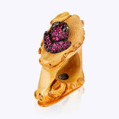 Bamboo Ring with Frog and Pink Tourmaline wt. 11.66 g.