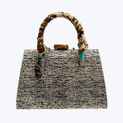 Fern Handbag with Jade & Snake Leather wt.1.17 kg.