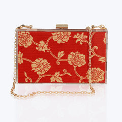 Acrylic Clutch Bag with Antique Brocade
