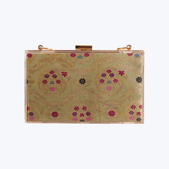 Acrylic Clutch Bag with Green Antique Brocade wt. 454.20g.