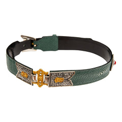 Tibetan Belt Galuchat with Gold Gilded Buckle