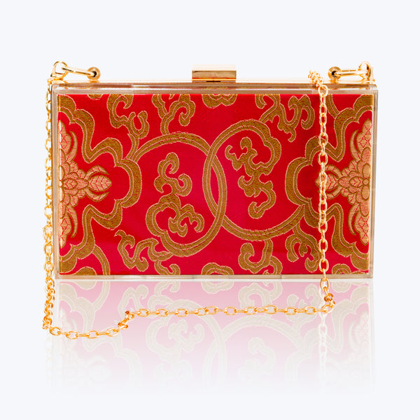 Acrylic Clutch Bag with Red Antique Brocade