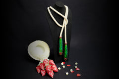 Phuang Malai Necklace with Scarab, Pearl and Ruby