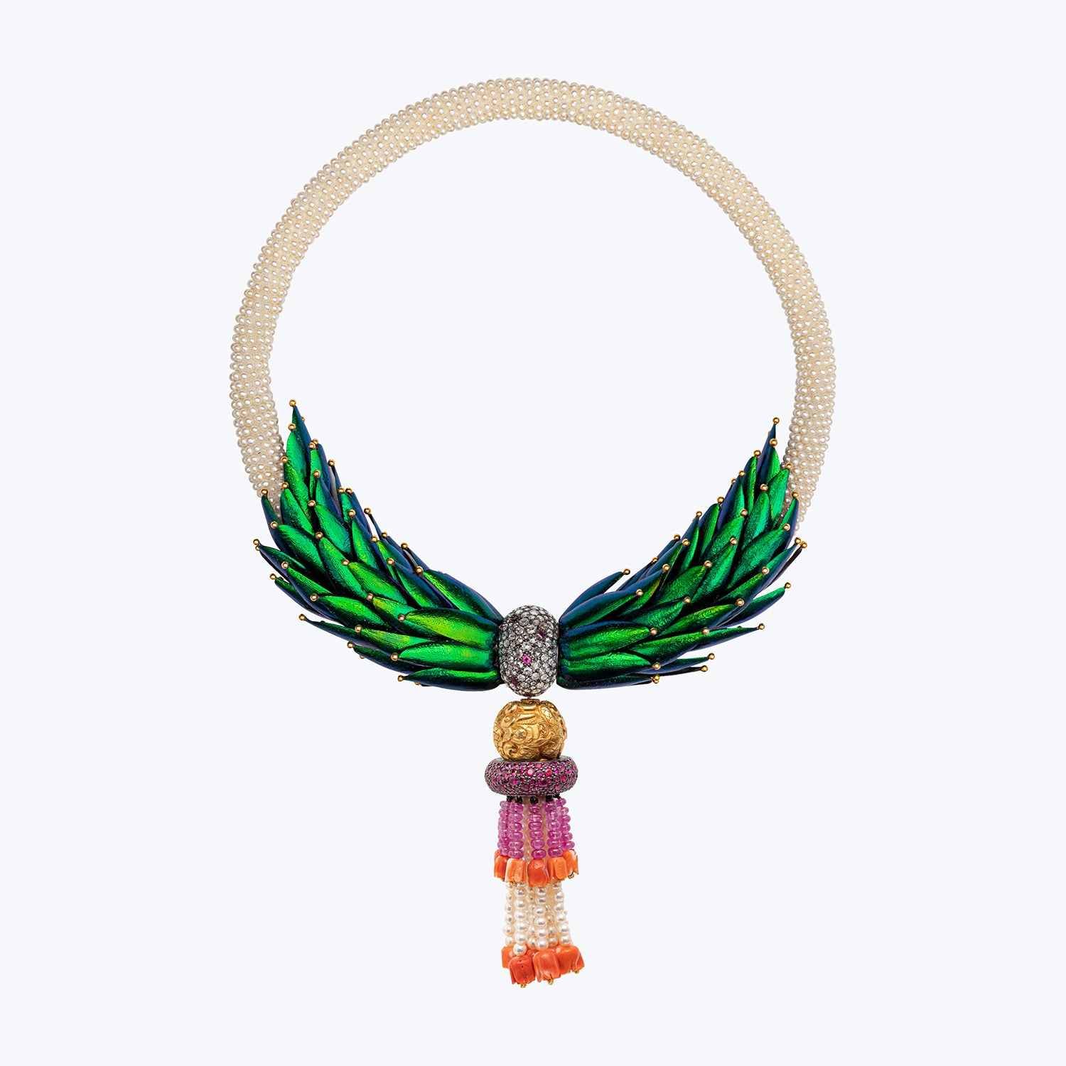 Puang Ma Lai Necklace with Scarab, Pearl, Gold Bead wt. 195.26 g. # ""