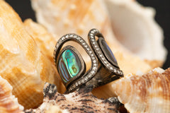 Abalone Shell Ring Decorated with Diamond wt. 10.34 g. # 53