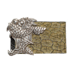 Cow Leather Money Clip with Dragon Fish