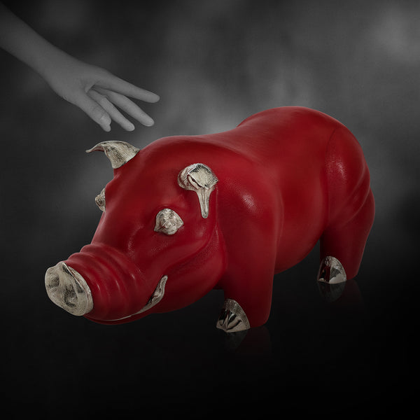 Red Leather Pig Stool