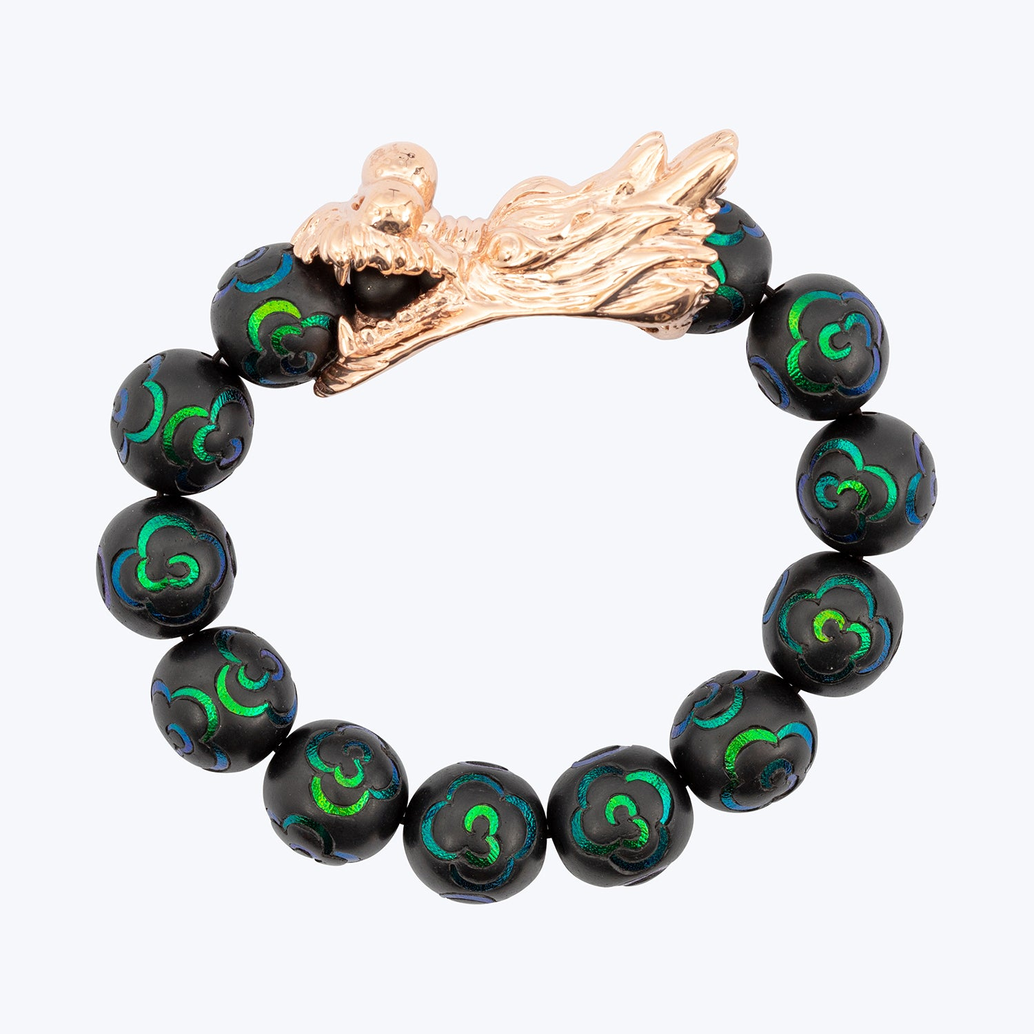 Dragon Mala Bracelet with Scarab Inlay wt. 60.68 g.