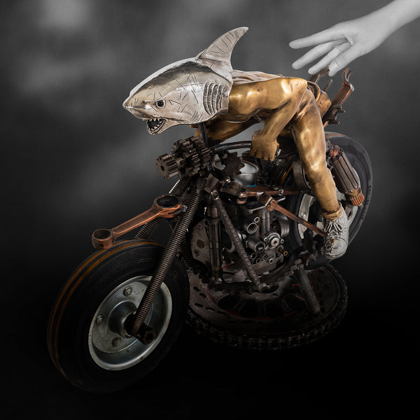 Motorbike with Silver Shark