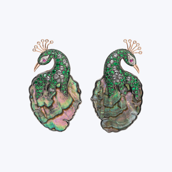 Shimmering Iridescence Abalone Shell Peacock Earrings (Size - S)