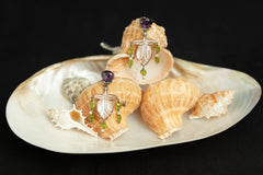 Carved Shell Earrings with Amethyst, Peridot, Pearl and Citrine