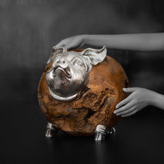 Wooden Pig Sculpture
