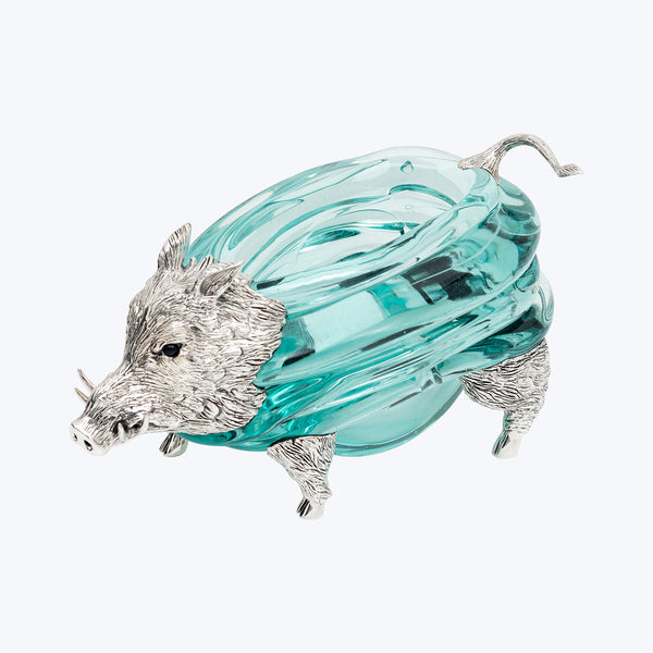 Glass Bowl with Silver Boar