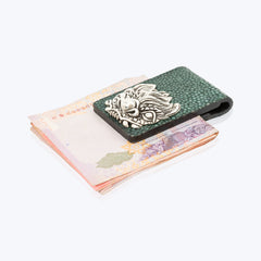 Galuchat Leather Money Clip with Dragon Fish