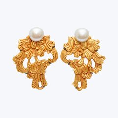Carved Coconut Earrings with Pearl wt. 20.07 g.