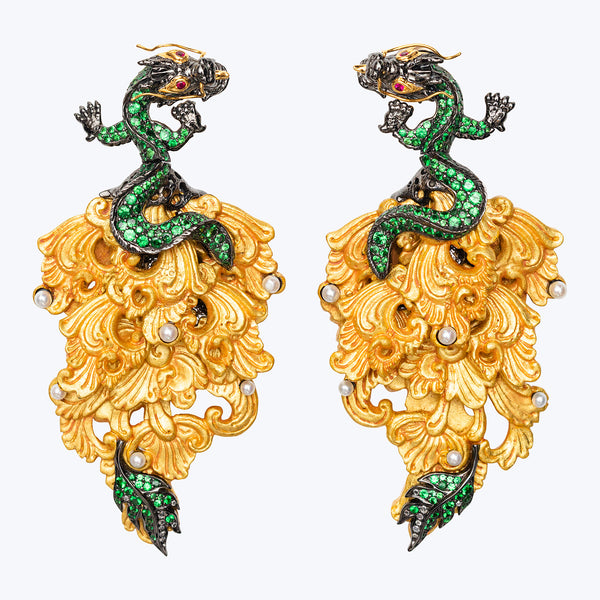 Carved Coconut Dragon Earrings with Tsavorite