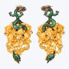 Carved Coconut Dragon Earrings with Tsavorite wt. 90.77 g.