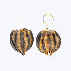 Cape Gooseberry Earrings with Gold Leaf and Diamonds. wt.17.09 gms.