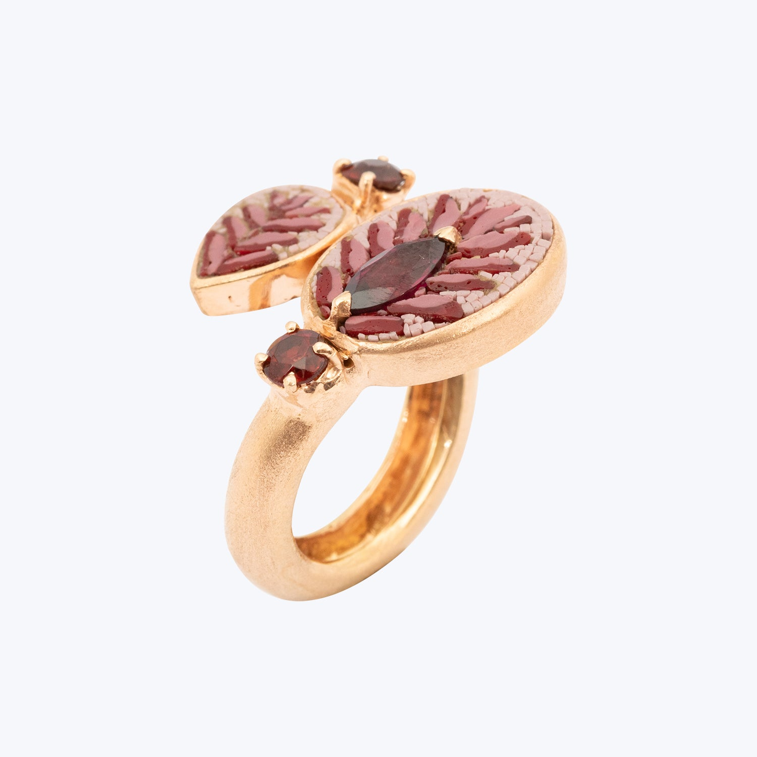 Mosaic Ring with Rhodolite Garnet