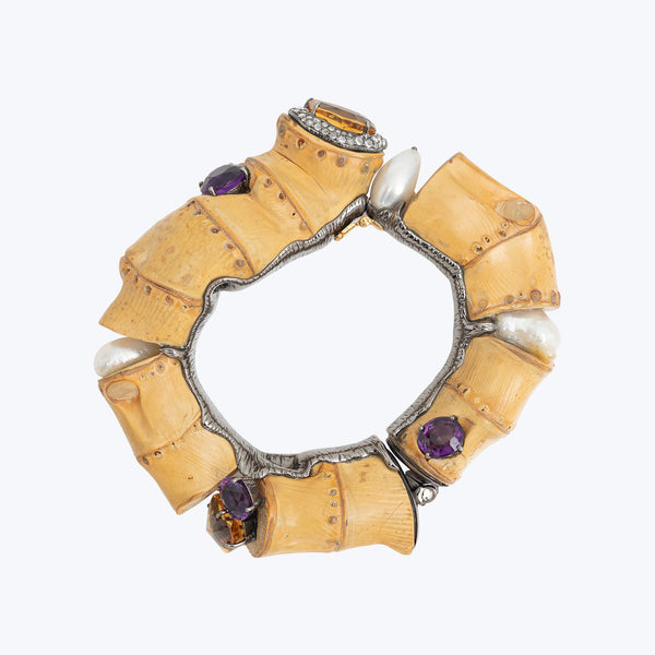 Bamboo Bangle with Amethyst, Pearl, Citrine and Diamond