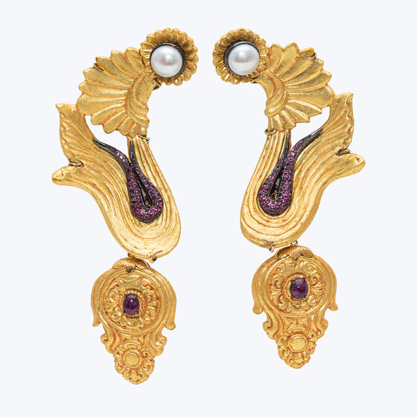 Carved Coconut Earrings with Pearl & Rubies