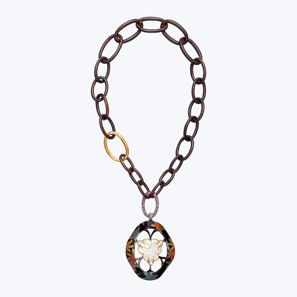 Teak Wood Necklace with Japanese Lacquer, Carved Mother of Pearl, Diamond and Pink Tourmaline