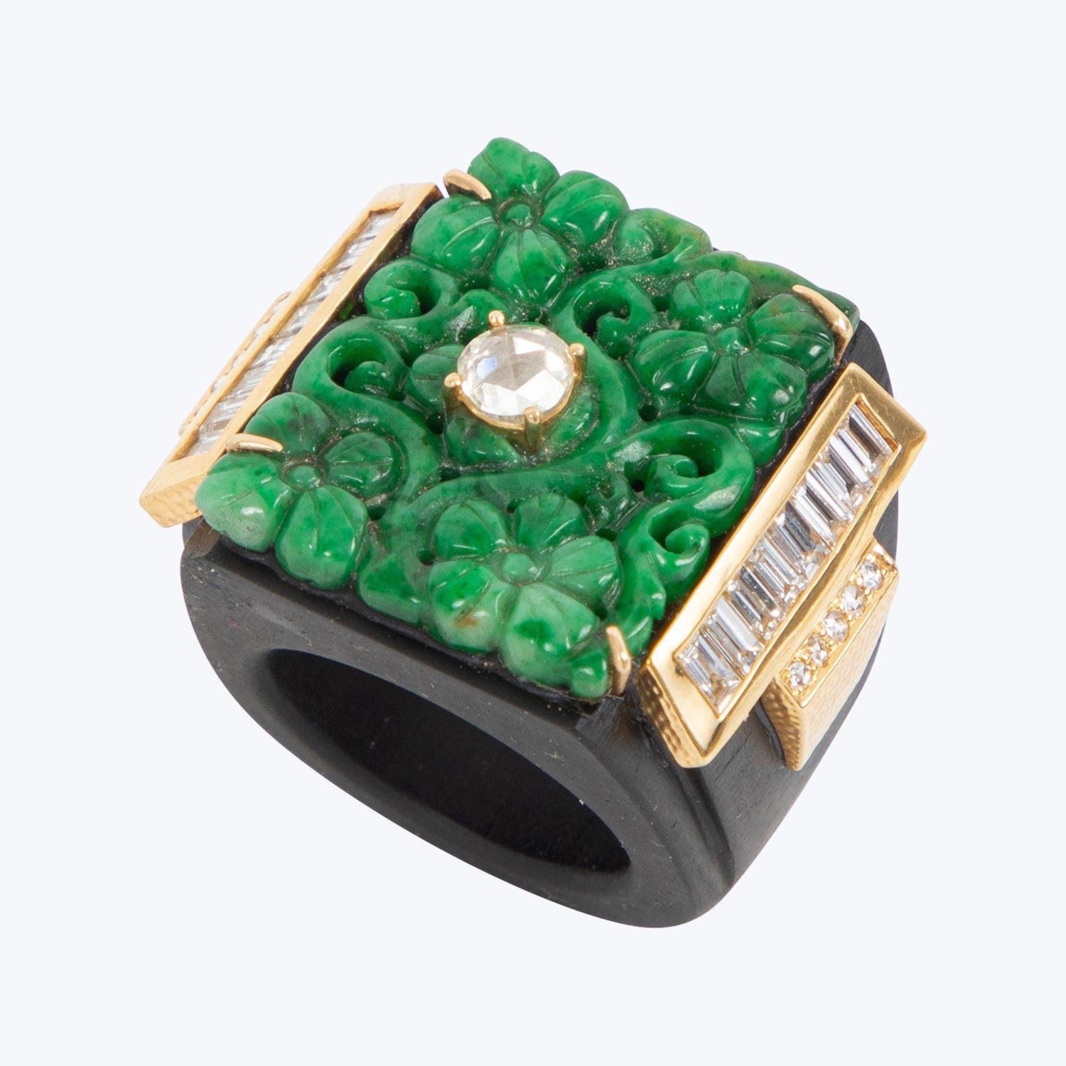 Black Wood Ring with Diamond and Carved Jade