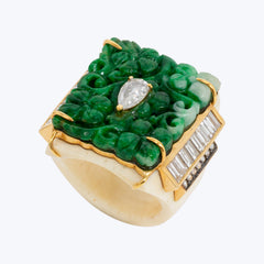 Bone Ring with Diamonds and Carved Jade