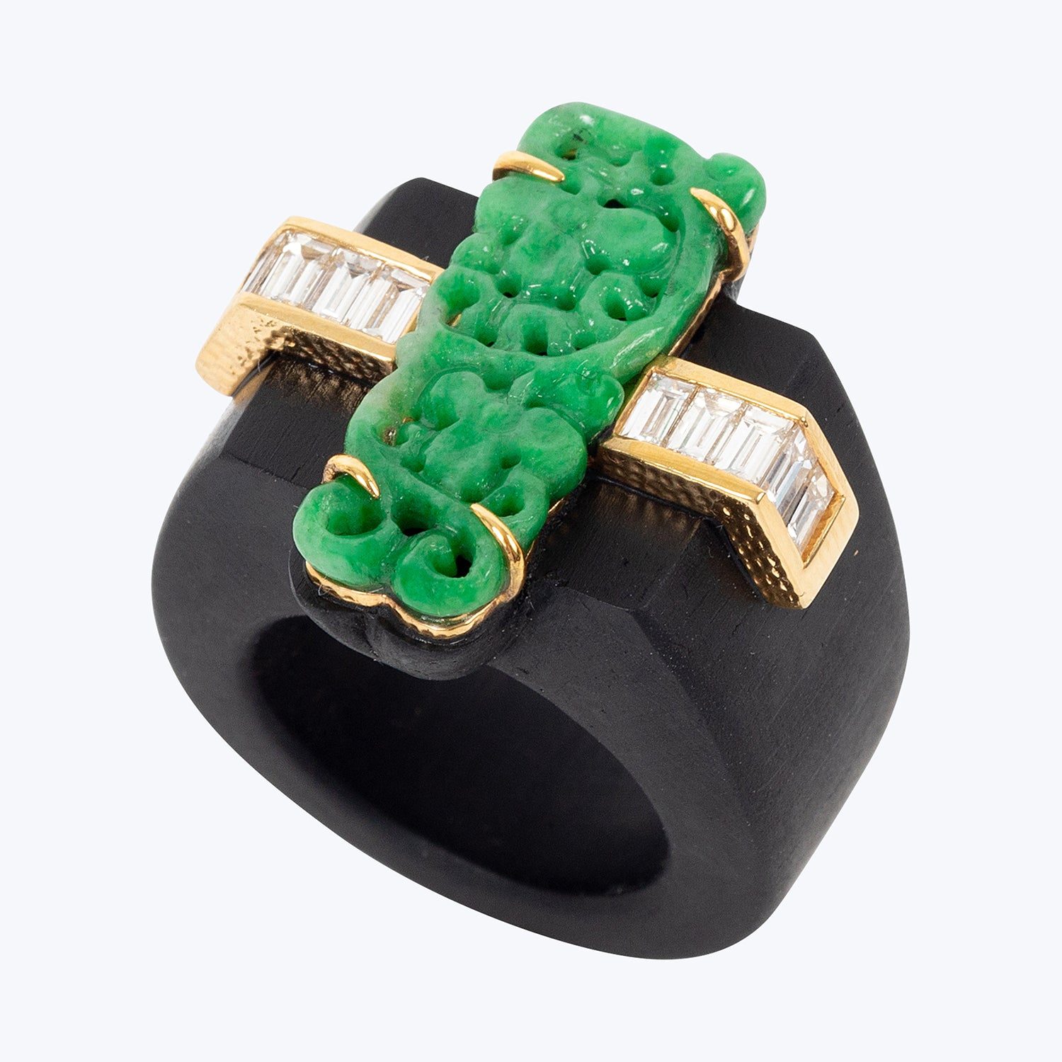 Jade Ring with Baguette Diamond  and Black wood  wt. 12.47 g. # 54