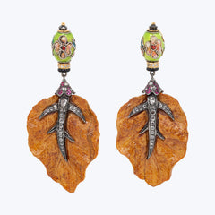 Carved Box Wood Earrings with Pink Tourmalines & Diamonds