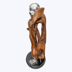 Teak Wood Happy Monk Sculpture with an Ingot