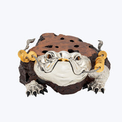 Wooden Lucky Toad Sculpture / Table