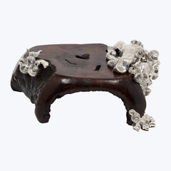 Wood Foo Dog Sculpture / Table
