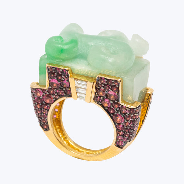 Carved Jade Ring with Diamonds, Pink Tourmalines in 18K Gold