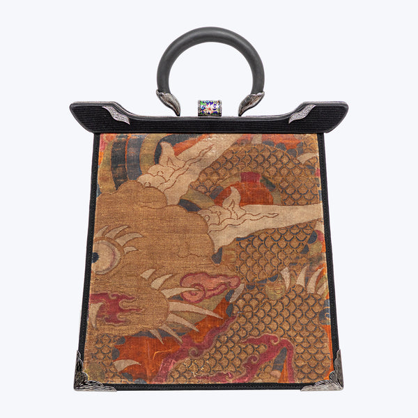 Antique Textile Handbag with Cloisonne, Diamond and Black Wood