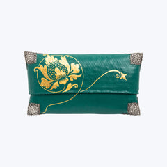 Tropical Woven Bamboo Clutch with Sterling Silver Decor #M-SP