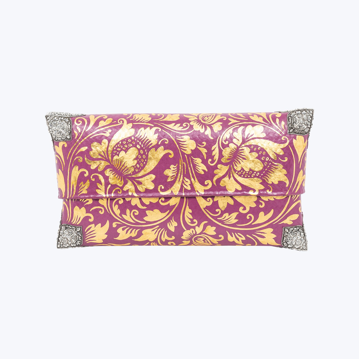 Tropical Woven Bamboo Clutch with Sterling Silver Decor ( Plum & Gold ) #M-SP