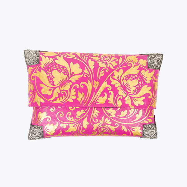 Tropical Woven Bamboo Clutch with Sterling Silver Decor (Magenta and Gold) #M
