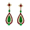 Emerald and Natural Burmese Ruby Earrings
