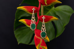 Carved Russian Emerald Earrings