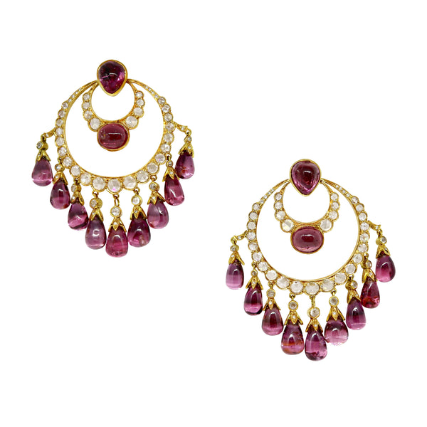 Earrings with Antique Natural Imperial Spinel Cabochons Drops