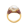 Antique Ring with Basra Pearl & Burmese Ruby