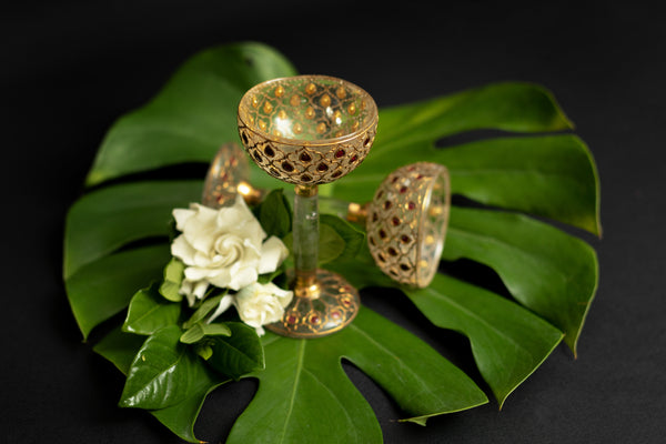 Goblet Set with Natural Burmese Cabochon Rubies