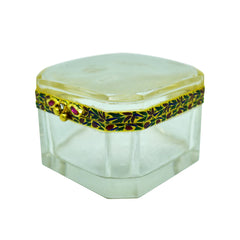 Rock Crystal Pill Box with Natural Burmese Cabochon Rubies