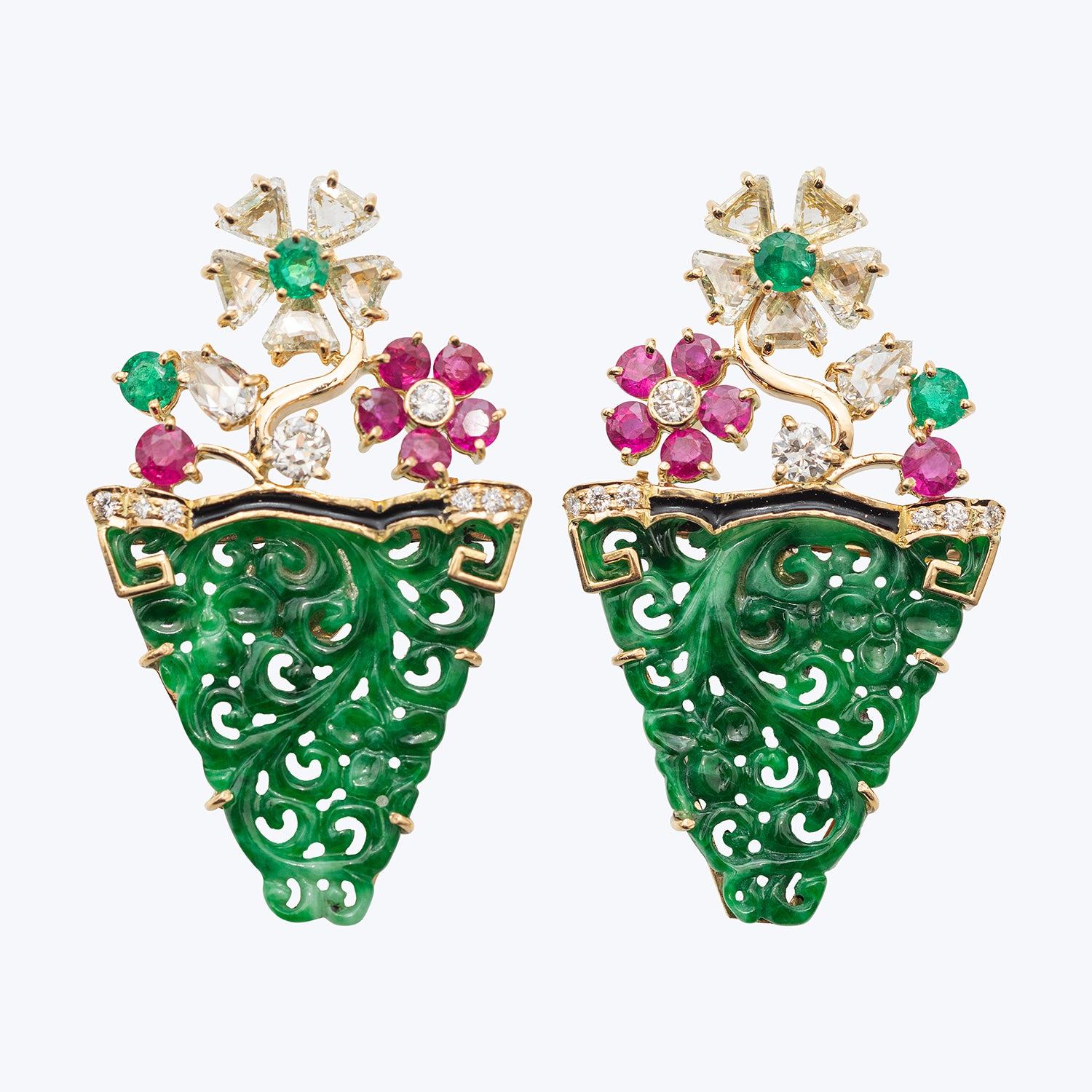 Jade Earrings with Ruby and Diamond wt. 14.59 g.