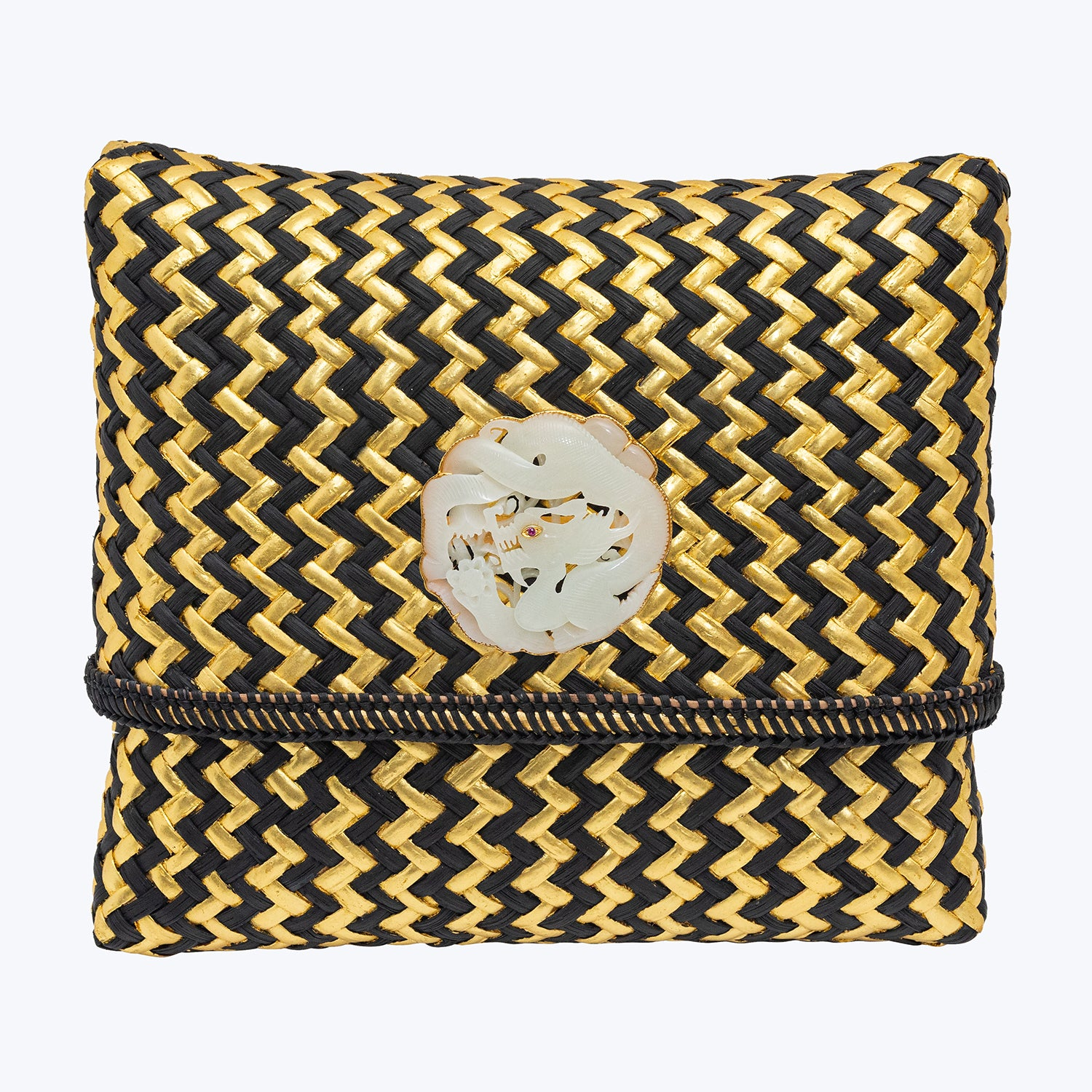 Rattan Handbag with Carved Nephrite