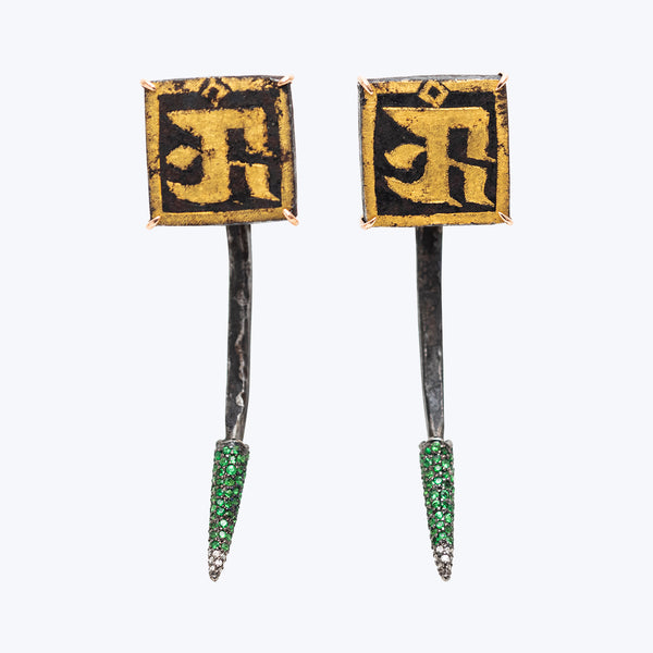 Antique Tibetan Nail Earrings with Tsavorite and Diamond