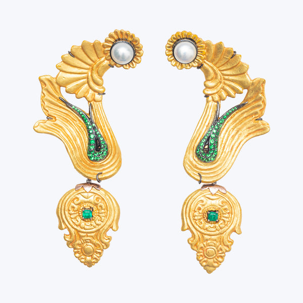 Carved Coconut Earrings with Pearl, Emerald and Tsavorite wt. 46.53 g.