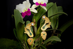 Carved Coconut Earrings with Pearl, Emerald and Tsavorites